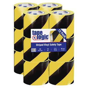 "Tape Logic® Striped Vinyl Tape, 7.0 Mil, 4"" x 36 yds., Black/Yellow, 12/CS"
