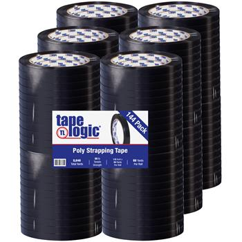 """Tape Logic® Tensilized Poly Strapping Tape, 2.7 Mil, 1/2"""" x 60 yds, Black, 144/CS"""