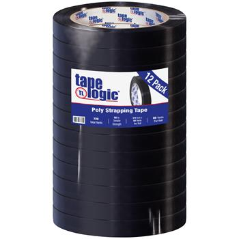 """Tape Logic® Tensilized Poly Strapping Tape, 2.7 Mil, 3/4"""" x 60 yds, Black, 12/CS"""