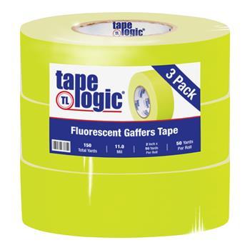"Tape Logic® Gaffers Tape, 11.0 Mil, 2"" x 50 yds., Fluorescent Yellow, 3/CS"