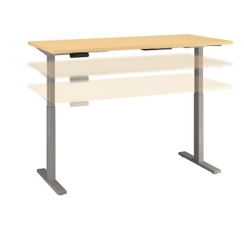 """Bush Business Furniture Move 60 Series Height Adjustable Standing Desk, 72"""" W x 30"""" D, Natural Maple/Cool Gray Metallic"""