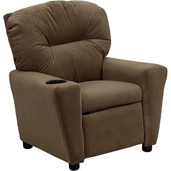 Flash Furniture Contemporary Kids Recliner with Cup Holder, Microfiber, Brown