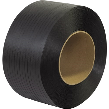 "W.B. Mason Co. Polypropylene Strapping, Machine Grade, Embossed, 8"" x 8"" Core, 1/2"" x 9000', Black"