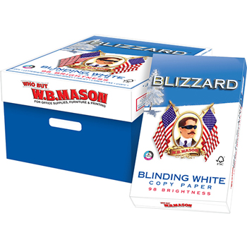 Blinding White Copy Paper, 98 Bright, 20 lb., 8 1/2 x 14, White, 5000/CT