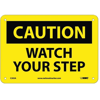 Caution Sign, Watch Your Step, 7'' x 10'', Aluminum, Black on Yellow