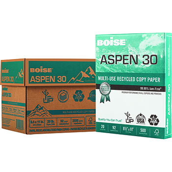 Boise® ASPEN® 30 Recycled Multi-Use Paper, 92 Bright, 20 lb., 8 1/2 x 11, White, 2500/CT