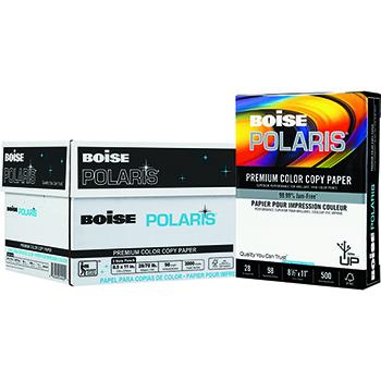Boise® POLARIS® Premium Color Copy Paper, 98 Bright, 28 lb., 8 1/2 x 11, 3 Hole Punched, White, 3000/CT