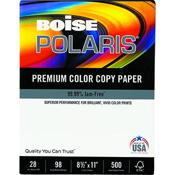 Boise® POLARIS® Premium Color Paper, 98 Bright, 28 lb., 8 1/2 x 11, White, 500/RM