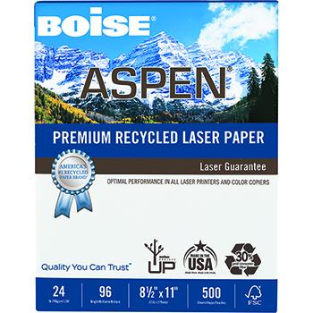 ASPEN® Premium Laser Paper, 96 Bright, 24 lb., 8 1/2 x 11, White, 500/RM