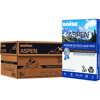 Boise® ASPEN® Premium Recycled Laser Paper, 96 Bright, 24 lb., 8 1/2 x 14, White, 3000/CT