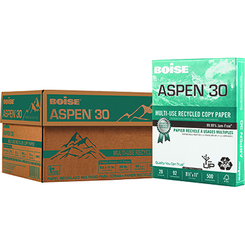 Boise® ASPEN® 30 Recycled Multi-Use Paper, 92 Bright, 20 lb., 8 1/2 x 11, 3 Hole Punched, White, 5000/CT