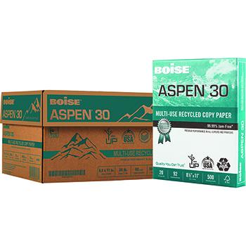 Boise® ASPEN® 30 Recycled Multi-Use Paper, 92 Bright, 20 lb., 11 x 17, White, 2500/CT