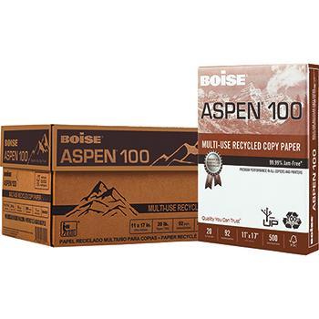 Boise® ASPEN® 100 Recycled Multi-Use Paper, 92 Bright, 20 lb., 11 x 17, White, 2500/CT