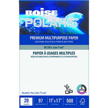 Boise® POLARIS Premium Multipurpose Paper, 97 Bright, 20 lb., 11 x 17, White, 500/RM