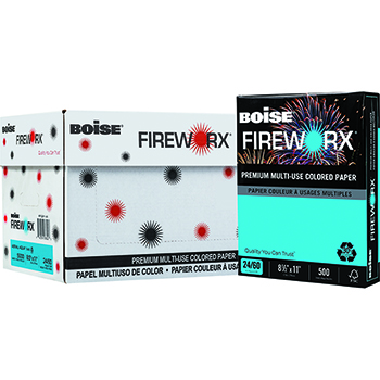 FIREWORX® Colored Paper, 24 lb., 8 1/2 x 11, Aerial Aqua™, 5000/CT