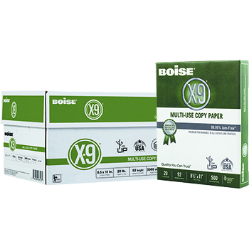 X-9® Multi-Use Copy Paper, 92 Bright, 20 lb., 8 1/2 x 11, White, 5000/CT
