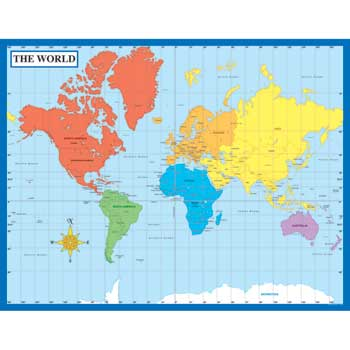 Carson-Dellosa Publishing Map Of The World Laminated Chartlet, 17 x 22