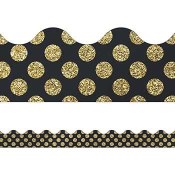 Carson-Dellosa Publishing Sparkle and Shine Gold Glitter Dots Scalloped Borders