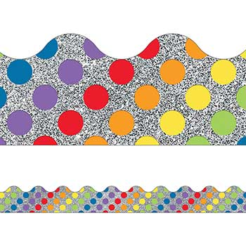 Sparkle and Shine Rainbow Dots on Glitter Scalloped Borders