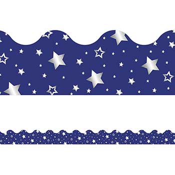 Carson-Dellosa Publishing Sparkle and Shine Navy with Foil Stars Scalloped Borders