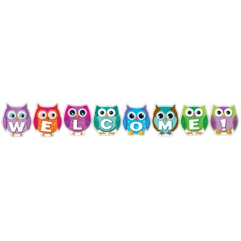 Colorful Owl Welcome Banner Bulletin Board Set