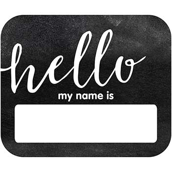 Schoolgirl Style Industrial Chic Hello Name Tags, 40/PK