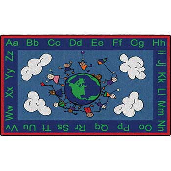 Flagship Carpets Printed Happy World Rug, Rubber Back, Primary, Rectangle, 4' x 6'