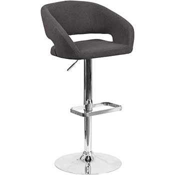 Contemporary Adjustable Height Barstool with Rounded Mid-Back and Chrome Base, Fabric, Charcoal