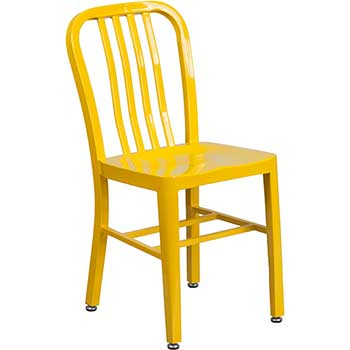 Flash Furniture Indoor-Outdoor Chair, Metal, Yellow