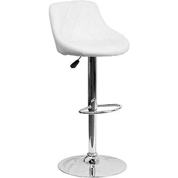 Flash Furniture Contemporary Bucket Seat Adjustable Height Barstool with Diamond Pattern Back and Chrome Base, Vinyl, White
