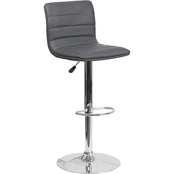 Flash Furniture Contemporary Adjustable Height Barstool with Horizontal Stitch Back and Chrome Base, Vinyl, Gray