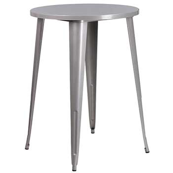 Round Indoor-Outdoor Bar Height Table, Metal, Silver, 30""