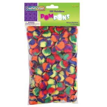 "Creativity Street® Rainbow Pom Pons, 1"", 100/PK"