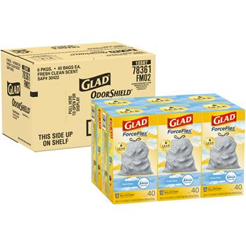 Glad® ForceFlex Tall Kitchen Drawstring Trash Bags, 13 Gallon Trash Bag, Fresh Clean Scent with Febreze Freshness, 40 Count, 6/CT