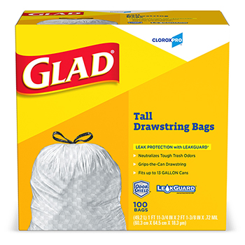 Tall Kitchen Drawstring Trash Bags, 13 Gallon, 100 Count