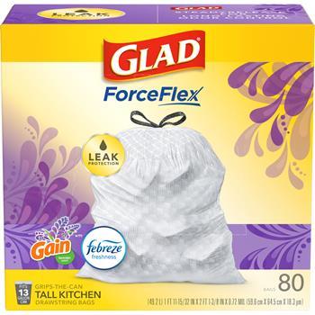 Glad® ForceFlex Tall Kitchen Drawstring Trash Bags, 13 Gallon, Mediterranean Lavender w/ Febreze Freshness, 80/BX