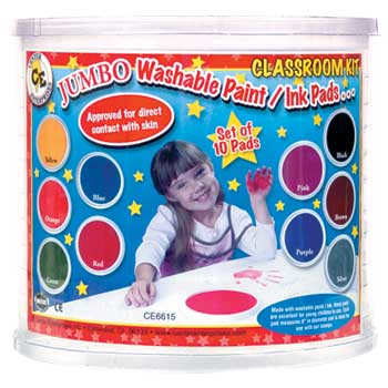 Jumbo Washable Paint/Ink Pads, Classroom Kit