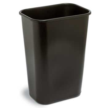 Continental® Commercial Plastic Wastebasket, 41 1/4 Quart, Black