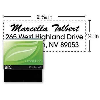 "COSCO 2000PLUS® Green Line Self-Inking Custom Message Stamp, 2 3/16"" x 13/16"""
