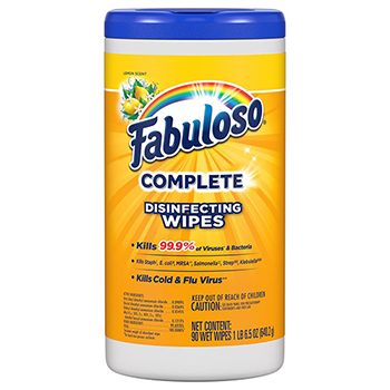 Fabuloso® Complete Disinfecting Wipes, Lemon, 90 Wipes/Bottle