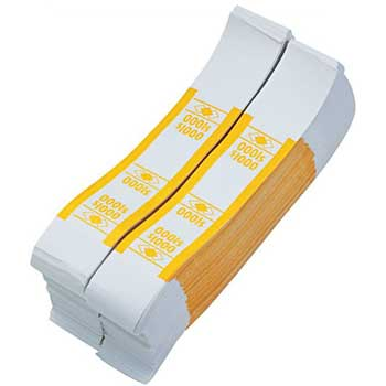 Currency Straps, $1000, Yellow, 1000/PK