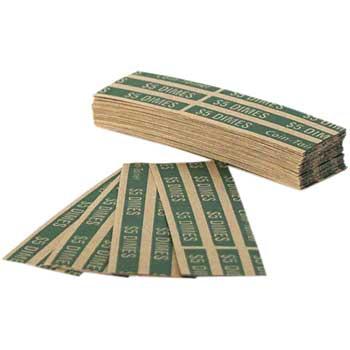 CONTROLTEK® Flat Coin Wrappers, $5 Dimes, Green, 1000/BX