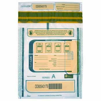 "SafeLok® Tamper Evident Deposit Bag, 1 Bundle Capacity, 9"" x 12"", White, 100/PK"