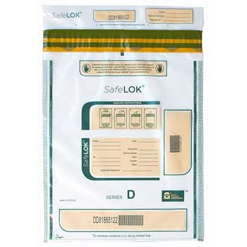 """CONTROLTEK® SafeLok Tamper Evident Deposit Bag, 2 Bundle Capacity, 12"""" x 16"""", Clear, 100/PK"""
