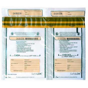 """CONTROLTEK® SafeLok Twin Deposit Bag, 13.5"""" x 10"""", Clear, 100/PK"""