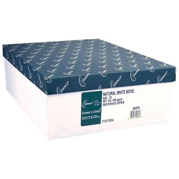 Crane's® Crest Natural White Business Envelopes, 24lb., 100% cotton fiber, 500/Box