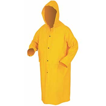 "River City Classic Coat with Detachable Hood, Snap Front, .35 mm PVC/Polyester, 49"", Large, Yellow"
