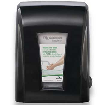 "Cascades PRO Tandem+ Mechanical No-Touch Towel Dispenser, Black, 11 1/5"" x 9"" x 15 1/5"""