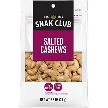 Snak Club® Salted Cashews, 2.5 oz., 6/CS