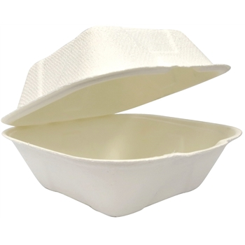 "EcoDine Clamshell,Compostable Bagasse, 6"", 500/CS"